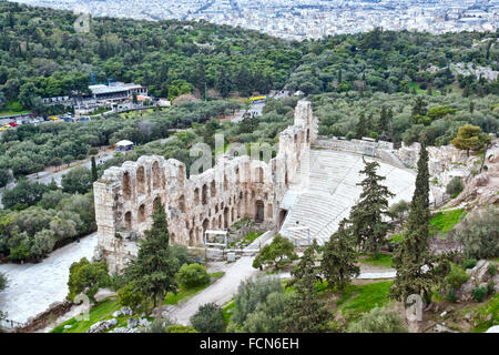 Remains of Odeon of Herodes Atticus near the Acropolis of Athens. - Stock Photo