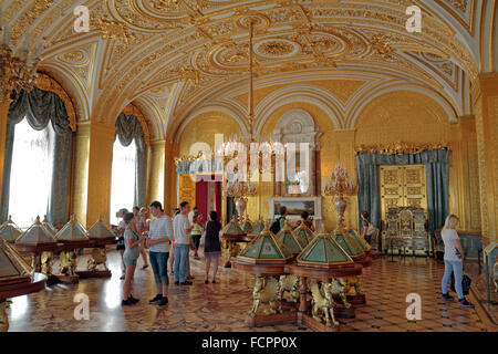 The Gold Room in the State Hermitage museum, St Petersburg, Russia. - Stock Photo