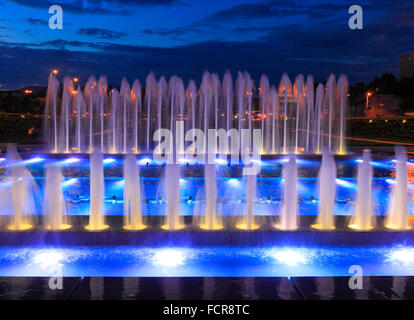 New fountain near new National Library in Zagreb, Croatia. - Stock Photo