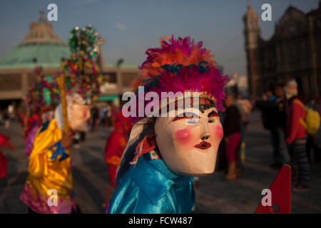 Dancers from El Palmar, Puebla, perform Saint James' dance during the annual pilgrimage to the Basilica of Our Lady - Stock Photo