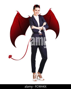 Full length business woman with devil wings and horns, isolated on white - Stock Photo