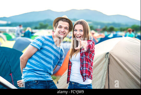Teens at summer festival - Stock Photo