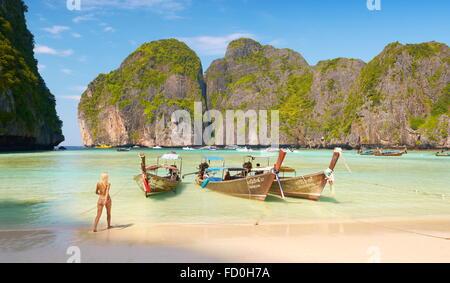 Thailand beach - tropical Maya Bay on Phi Phi Leh Island, Andaman Sea, Asia - Stock Photo