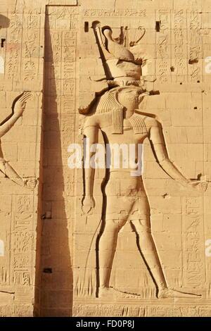 Egypt - Edfu, Temple of Horus, detail - Stock Photo