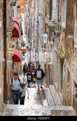 Dubrovnik Old Town Street, Dalmatia, Croatia - Stock Photo