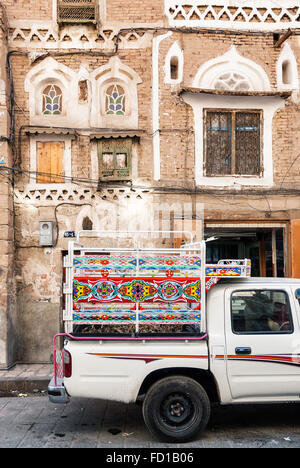decorated pickup truck in sanaa city old town in yemen - Stock Photo