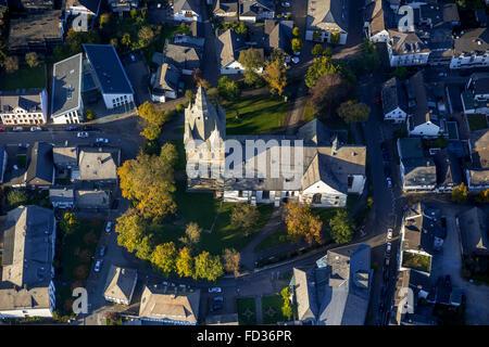 Aerial view, Brilon city center with Provost Church, Brilon, Sauerland, North Rhine Westphalia, Germany, Europe, - Stock Photo