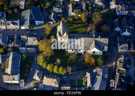Aerial view, Brilon city center with Propsteikirche, Brilon, Sauerland, North Rhine Westphalia, Germany, Europe, - Stock Photo