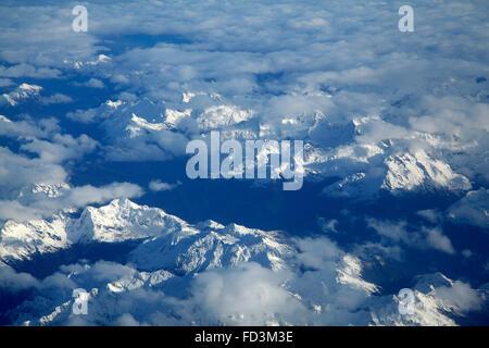 Hollyford Valley, Fiordland National Park, Fiordland, South Island, New Zealand - aerial - Stock Photo