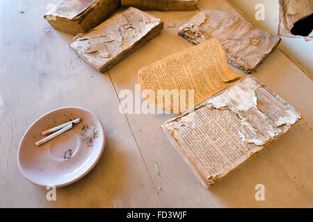 Old books inside an abandoned home in Bombay Beach, California, on the eastern shore of the Salton Sea - Stock Photo