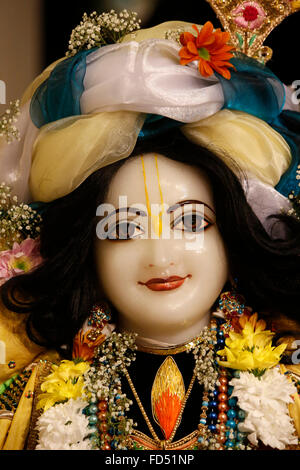Celebration of Diwali festival in an ISKCON temple. Hindu statue : Nitai, or Nityananda, was a Vaishnava saint considered - Stock Photo