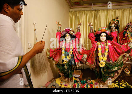 Festival of the Holy Name in an ISKCON temple. Statues depicting Gaur and Nitai - Stock Photo
