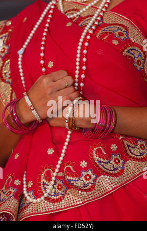Celebration of Diwali festival in an ISKCON temple. Indian clothing - Stock Photo