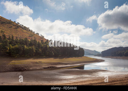 Howden Reservoir, Derbyshire in late summer showing low water level - Stock Photo