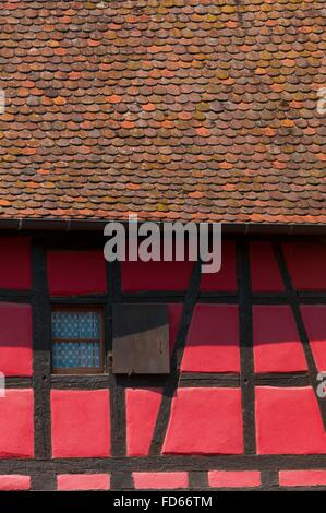 France, Haut Rhin (68), Eguisheim village (elected most beautiful french village),  cours Unterlinden,  half-timbered - Stock Photo