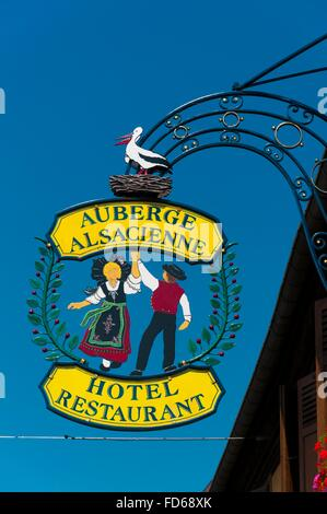 France, Haut Rhin (68), Eguisheim village (elected most beautiful french village), traditional sign of hotel restaurant - Stock Photo
