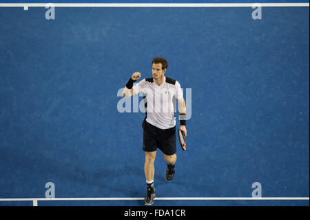 Melbourne, Australia. 29th Jan, 2016. Andy Murray of Great Britain celebrates after winning his men's singles semifinal - Stock Photo