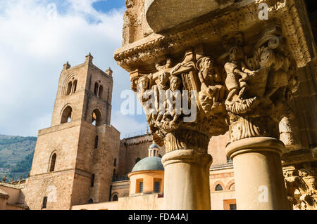 Cloisters of Monreale Cathedral in the province of Palermo, Sicily - Stock Photo