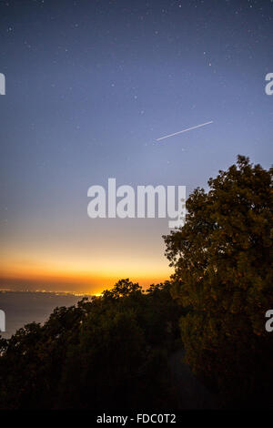 Stars in the sky in a night on the bay of Trieste - Stock Photo