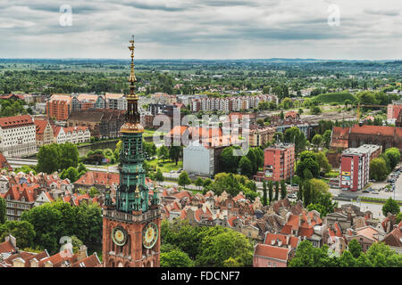 View from St. Marys Church in the Old Town of Gdansk and to the Town Hall, Gdansk, Pomerania, Poland, Europe - Stock Photo