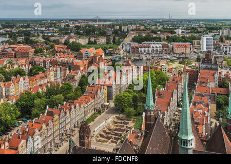 View from St. Mary's Church in the Old Town of Gdansk, Pomerania, Poland, Europe - Stock Photo