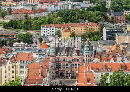 View from St. Mary's Church in the Old Town of Gdansk and to the large arsenal, Gdansk, Pomerania, Poland, Europe - Stock Photo