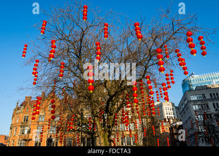 Chinese lanterns in Albert Square, Manchester, England, UK.  For Chinese New Year celebrations. - Stock Photo