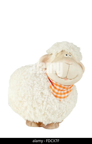 Small fluffy toy sheep isolated on white background - Stock Photo