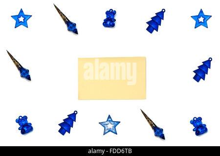 Isolated blue Christmas tree toys on white background - Stock Photo