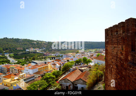 Silves view from the historical castle in the Algarve, Portugal - Stock Photo