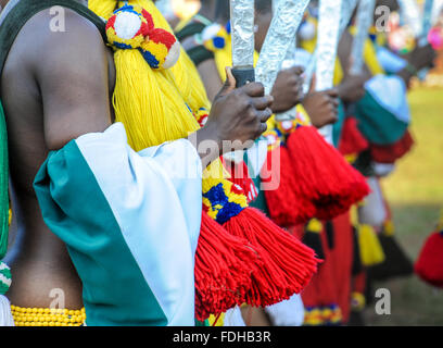 Ludzidzini, Swaziland, Africa - The Swazi Umhlanga, or reed dance ceremony, 100,000 unmarried women , or maidens, - Stock Photo