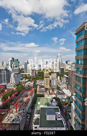 Elevated view of high-rise buildings in Pathum Wan District. Bangkok, Thailand. - Stock Photo