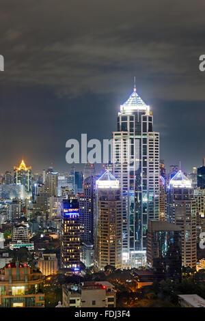Elevated city view at night. Bangkok, Thailand. - Stock Photo