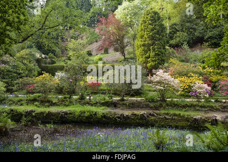 The river and garden which was created in the late eighteenth century by Samuel Greg, the mill owner, and his wife - Stock Photo
