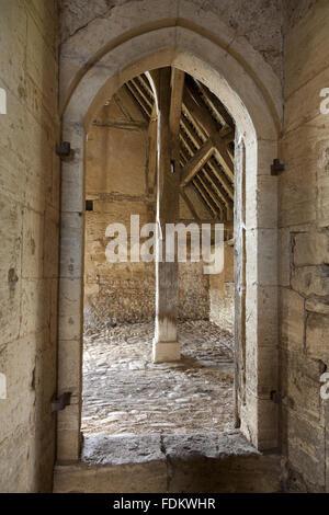Interior of the thirteenth-century Great Coxwell Barn, Oxfordshire. - Stock Photo