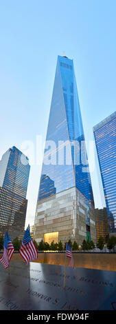 NEW YORK - JULY 29: Freedom Tower in Manhattan on July 29, 2015. One World Trade Center and part of 9/11 Memorial - Stock Photo