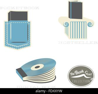 The book cover types icon set: metaphorical, conceptual, clean illustrations. - Stock Photo