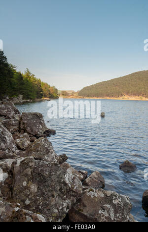 Llyn Geirionydd a lake in North Wales on edge of the Gwydyr Forest and the Carneddau mountains close to Betws y - Stock Photo