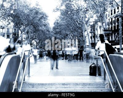 People Walking Along La Rambla - Stock Photo