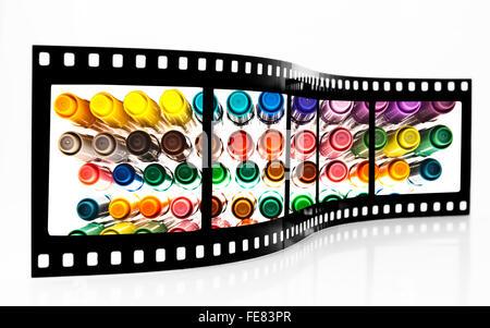 Colored felt Pens Film Strip - Stock Photo