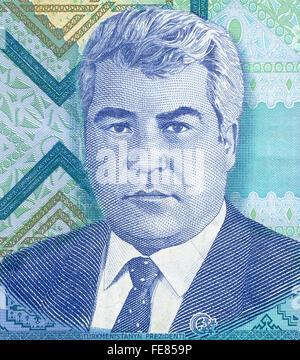 Portrait of the first President of Turkmenistan Saparmurat Niyazov from 5000 manat banknote - Stock Photo