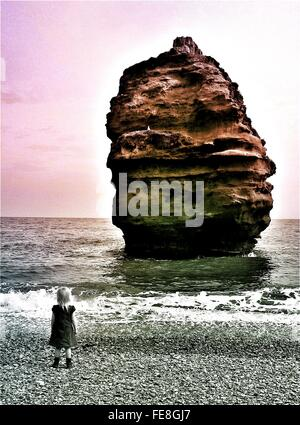 Rear View Of Little Girl Standing At Beach - Stock Photo