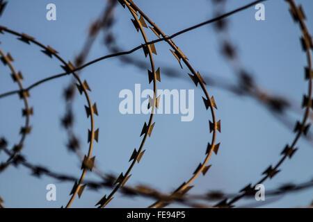 Razor wire against a light blue sky - Stock Photo