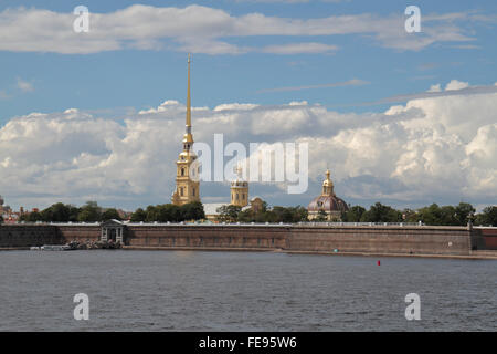 The Peter & Paul Fortress viewed across the Neva River in Saint Petersburg, Northwestern, Russia. - Stock Photo