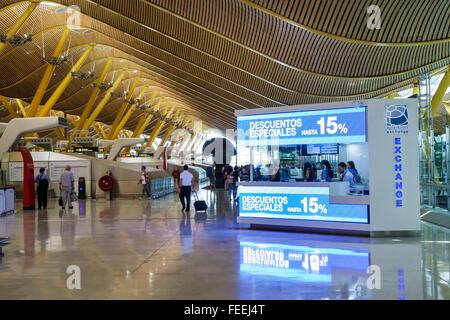 Spain Europe Eurozone Spanish MAD Adolfo Suárez Madrid-Barajas Airport international inside interior terminal concourse - Stock Photo