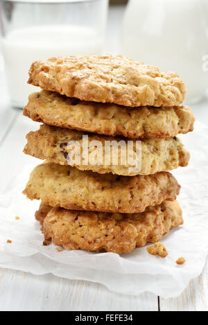 Healthy cookies from oats, close up view - Stock Photo