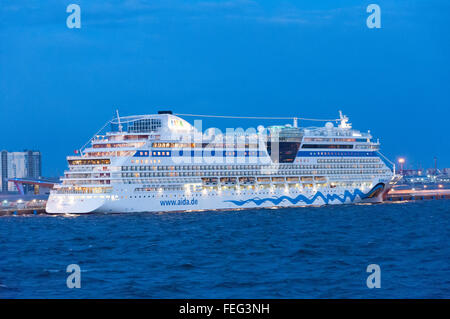 AIDA Diva cruise ship at dusk, Port of Saint Petersburg, Northwestern Region, Russian Federation - Stock Photo