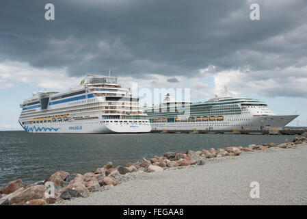 AIDA Diva & Royal Caribbean Brilliance of the Seas, cruise ship, Port of Tallinn, Tallinn, Harju County, Republic - Stock Photo