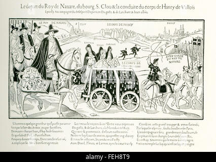 The illustration shows the bringing of the remains of the assassinated Henri III to Poissy, in north-central France. - Stock Photo