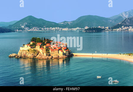 Sveti Stefan island near city of Budva, Montenegro - Stock Photo